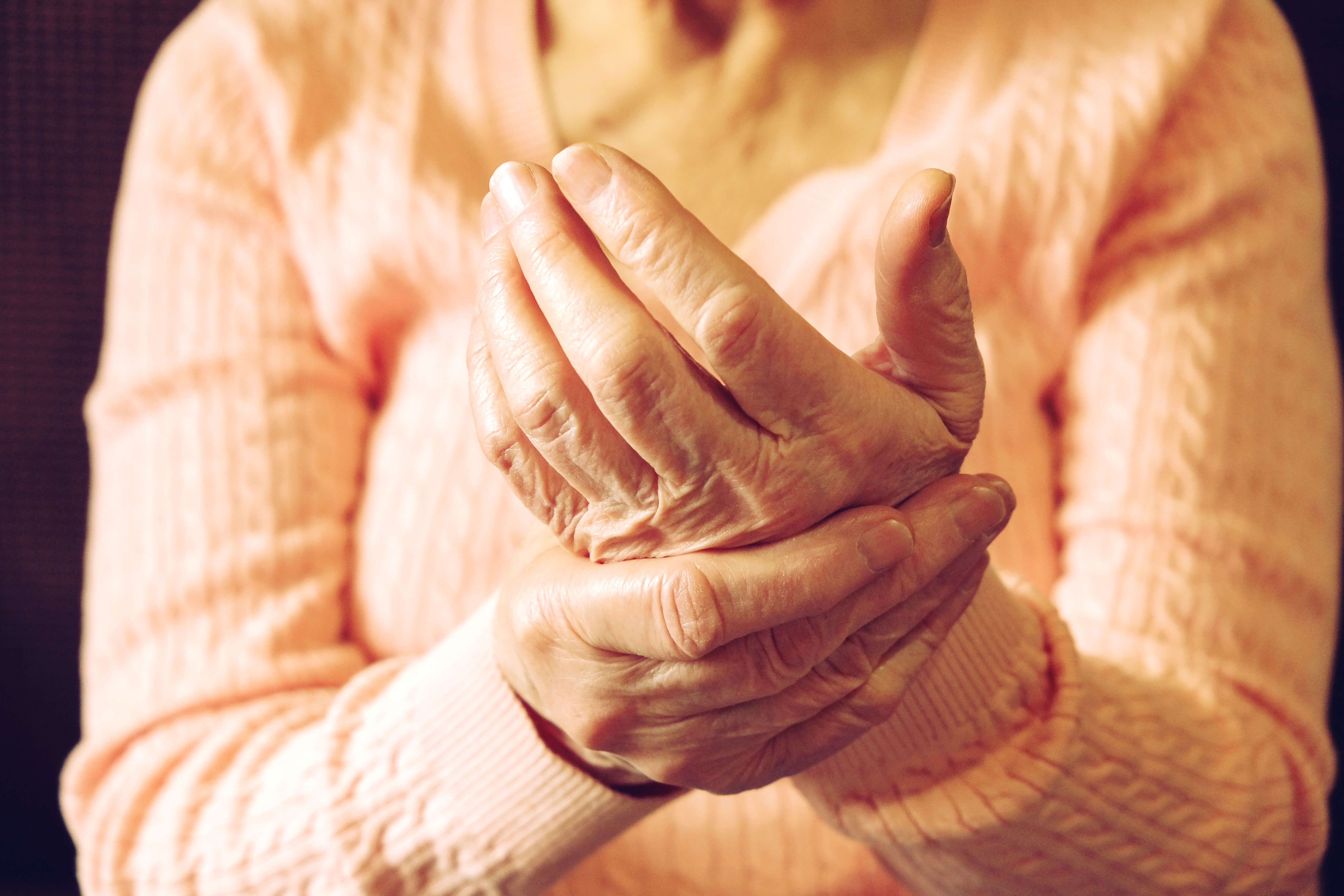 Close up of mature womans hands